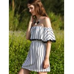 Stylish Short Sleeve Off The Shoulder Striped Women's Dress for sale