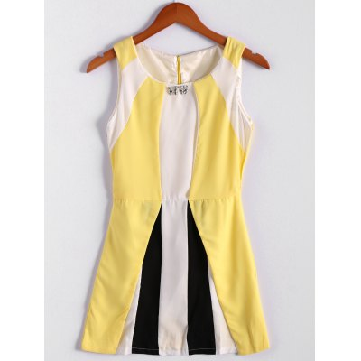 Color Block Scoop Neck Sleeveless Pleated Refreshing Style Chiffon Women's Dress (Without Belt)