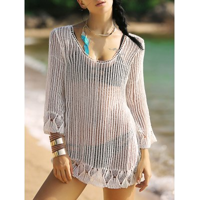 3/4 Sleeve Hollow Out Fringed Women's Cover-Up