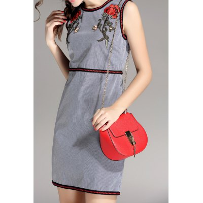 Sleeveless Flower Embroidered Dress