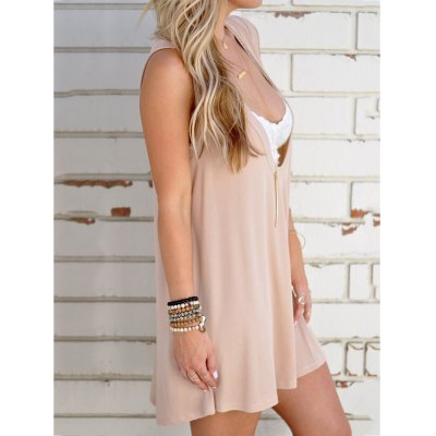 Trendy Plunging Neck Solid Color Sleeveless Dress For Women