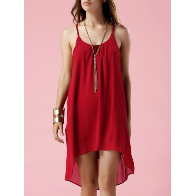 Spaghetti Strap Irregular Hem Loose Backless Dress