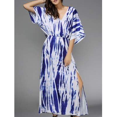Plunging Neck 3/4 Sleeve Blue Print Maxi Dress