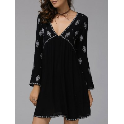 Fashionable Plunging Neck Long Sleeve Embroidered Dress For Women