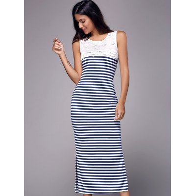 Simple Scoop Neck Sleeveless Lace Spliced Striped Women's Maxi Dress
