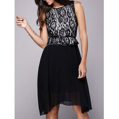 Lace Insert A Line Dress