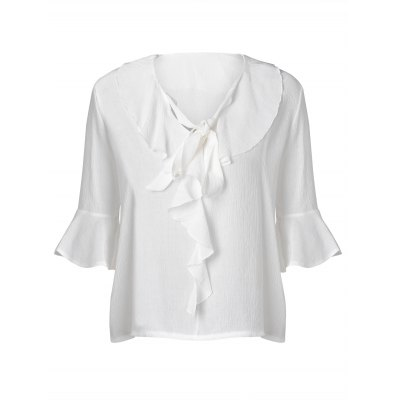Loose-Fitting Tie Flounce Chiffon 3/4 Sleeve Blouse For Women