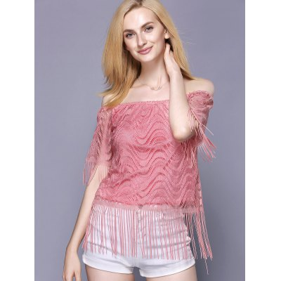 Off The Shoulder Tassel Embellished TopTees<br>Off The Shoulder Tassel Embellished Top<br><br>Material: Polyester<br>Clothing Length: Regular<br>Sleeve Length: Short<br>Collar: Off The Shoulder<br>Pattern Type: Solid<br>Style: Fashion<br>Season: Summer<br>Weight: 0.370kg<br>Package Contents: 1 x Blouse