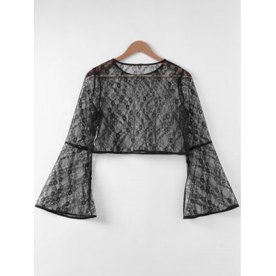 Fashionable Trumpet Sleeve Hollow Out Top For Women