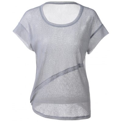 Loose-Fitting Scoop Neck Cut-Off Rule T-shirt  For Women