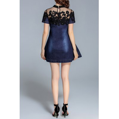 EWUS - Mock Neck Embroidered Mesh Yoke Denim Dress