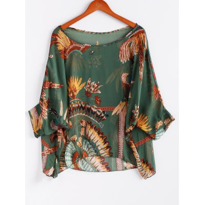 Batwing Sleeves Feather Print Casual Flowy Blouse