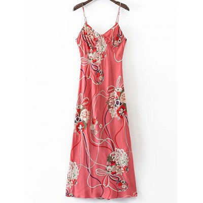 Stylish Cami Floral Open Back Women's Dress