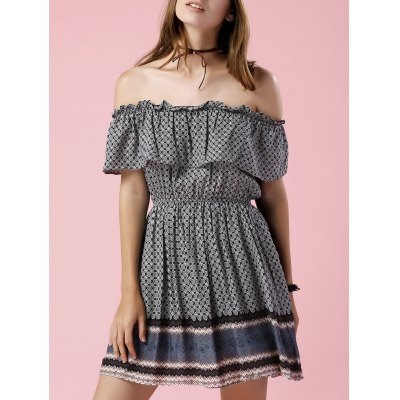 Off The Shoulder Printed Waisted Mini Dress
