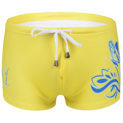 Flower Printed Lace Up Swimwear For Men