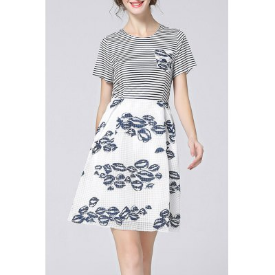 Pinstripe Spliced Hollow Out Print Dress