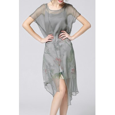Print Camisole Dress and Asymmetrical Cover-Up