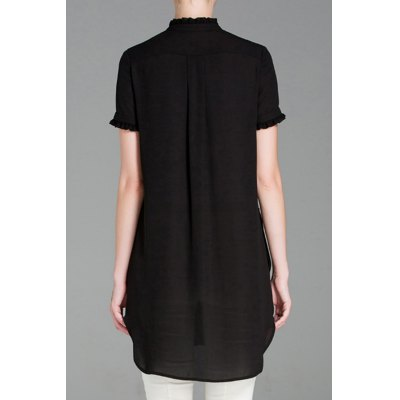 Casual Button Front Top With Pockets