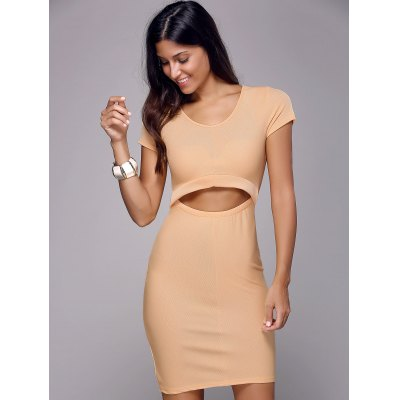 Trendy Scoop Neck Short Sleeve Solid Color Cut Out Slimming Women's Dress