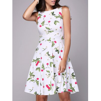Cherry Print Mini Flare Dress