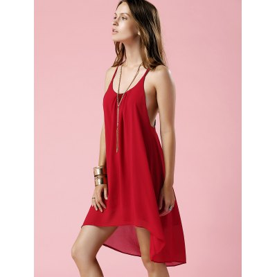 Spaghetti Strap Irregular Hem Backless Slip Dress