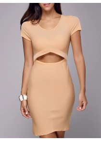 Cutout Sheath Knee Length Dress