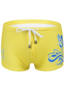 Slimming Flower Printed Lace Up Swimwear For Men