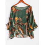 Batwing Sleeves Feather Print Casual Flowy Blouse photo