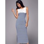 cheap Simple Scoop Neck Sleeveless Lace Spliced Striped Women's Maxi Dress