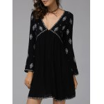 Buy Fashionable Plunging Neck Long Sleeve Embroidered Dress Women L BLACK