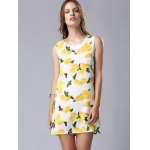 Stylish Round Neck Sleeveless Lemon Print Women's Dress for sale