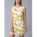 Stylish Round Neck Sleeveless Lemon Print Women's Dress