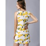 Stylish Round Neck Sleeveless Lemon Print Women's Dress photo