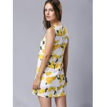 best Stylish Round Neck Sleeveless Lemon Print Women's Dress