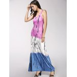 cheap Color Block Print Maxi Racerback Tank Dress