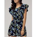 Stylish Scoop Neck Cap Sleeve Butterfly Print Dress For Women