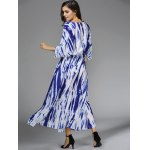 Stylish Plunging Neck 3/4 Sleeve Blue Print Women's Maxi Dress for sale