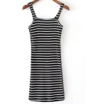 Stylish Straps Sleeveless Fitted Striped Women's Dress