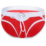 Fashion Low Waist Color Block Lace-Up Briefs Swimming Trunks For Men