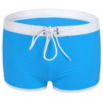 Fashion Low Waist Color Block Lace-Up Boxers Swimming Trunks For Men