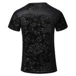 cheap New Style V-Neck Floral Print PU Leather Spliced Short Sleeves T-Shirt For Men