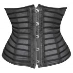 Trendy Button Embellished See-Through Patchwork Women's Corset for sale