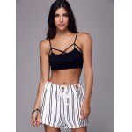 cheap Stylish Striped Loose White High Waisted Shorts