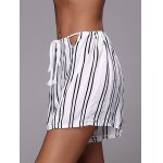 Stylish Striped Loose White High Waisted Shorts deal