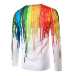 cheap Round Neck 3D Colorful Splash-Ink Print Long Sleeves T-Shirt For Men