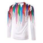 cheap Round Neck 3D Colorful Splash-Ink Printed Long Sleeves T-Shirt For Men