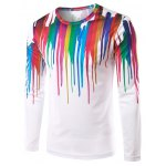 Round Neck 3D Colorful Splash-Ink Printed Long Sleeves T-Shirt For Men