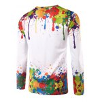 cheap Colorful Splatter Paint Printing Long Sleeves T-Shirt