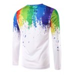 cheap Round Neck 3D Colorful Splash-Ink Print Long Sleeve T-Shirt For Men