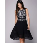 cheap Lace Insert Belt A Line Dress